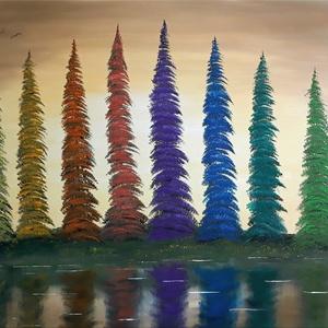 Színfenyves -olajfestmény, Művészet, Festmény, Olajfestmény, Festészet, 75x58 cm-es olajfestmény. Feszített vásznon. A képet kézzel festettem, saját fantáziámból. Szignózot..., Meska