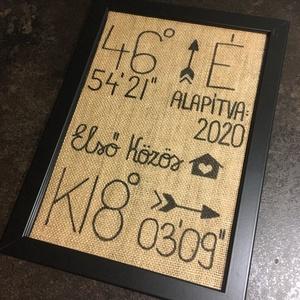 Házavató ajándék, Kép & Falikép, Dekoráció, Otthon & Lakás, Mindenmás, Kedves Érdeklődő!\n\nKülönleges házavató ajándékot készítek.\nZsákvászonra textil filccel írom fel az á..., Meska