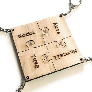 Családi, baráti tömörfa puzzle összeilleszthető kulcstartók + egyedi gravírozás, Kulcstartó szekrény, Bútor, Otthon & Lakás, Famegmunkálás, Gravírozás, pirográfia, Egyedi gravírozással készült 4db-ból álló, összeilleszthető puzzle formájú kulcstartó készlet család..., Meska