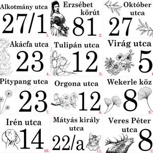 Egyedileg gravírozott nemesacél házszámtábla - Meska.hu