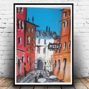 Olasz pizzéria - olajfestmény, Otthon & lakás, Képzőművészet, Festmény, Kedves kis emlék Olaszországból. A csodás színes házak között a kis pizzéria látható. Színes olajfes..., Meska