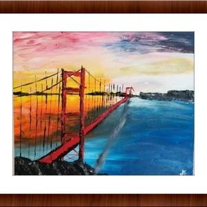 Híd az újvilágban - olajfestmény, Otthon & lakás, Képzőművészet, Festmény, Olajfestmény, Festészet, A naplemente ragyogó sárga-vörös árnyalatai keretezik az USA leghosszabb függőhídjának, a Golden Gat..., Meska