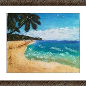 Álomsziget - olajfestmény, Otthon & lakás, Képzőművészet, Festmény, Olajfestmény, Elképzelt tengerpart az álomszigeten. Olajfestmény vászonra festve. A kép szélein kb. 2,5 cm fehér v..., Meska