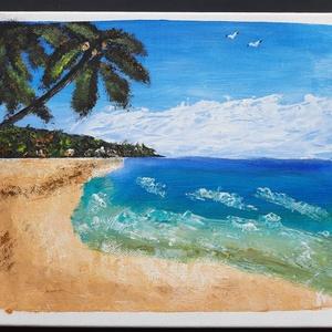 Álomsziget - olajfestmény, Művészet, Festmény, Olajfestmény, Elképzelt tengerpart az álomszigeten. Olajfestmény vászonra festve. A kép szélein kb. 2,5 cm fehér v..., Meska