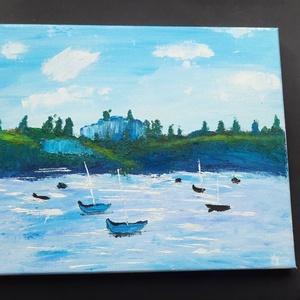 Kishajók a vízen - olajfestmény, Művészet, Festmény, Olajfestmény, Hangulatos olajfestmény vászonra festve, mely az előszoba, vagy kisebb helyiség dísze lehet.  Keret ..., Meska