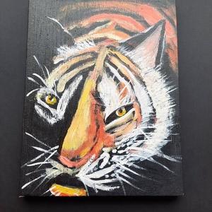 Támadás előtt - olajfestmény, Művészet, Festmény, Olajfestmény, Sötétben, félig árnyékos helyen támadásra készül a tigris. Olajfestmény vászonra festve, mely az elő..., Meska