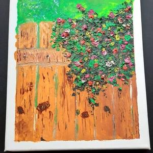 Kerítés virágokkal - olajfestmény, Művészet, Festmény, Olajfestmény, A fakerítésről lelógó virágos bokor a nyár hangulatát idézi. Színes virágok, zöld falevelek a háttér..., Meska