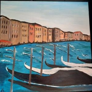 Velencei gondolák - olajfestmény, Művészet, Festmény, Olajfestmény, Festészet, Velence gondolákkal. A csatornán ringatózó gondolák a kissé háborgó vizen. Olajfestékkel készült vás..., Meska