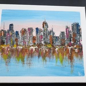 Felhőkarcolók fényei - olajfestmény, Művészet, Festmény, Olajfestmény, Festészet, Az amerikai nagyvárosok toronyházainak fénye visszatükröződik a folyóról.\nSejtelmes, az égbolt rózsa..., Meska