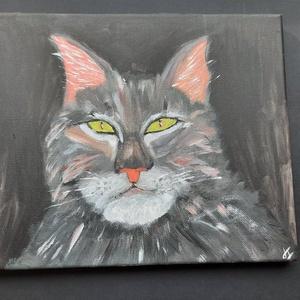 Macska a sötétben - olajfestmény, Művészet, Festmény, Olajfestmény, Macska a sötétben! Csak a szeme világít 25x30 cm vászonkép, olaj festmény  Sergent emlékére, Meska