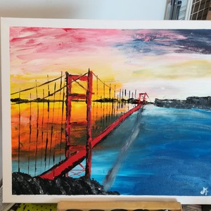 Híd az újvilágban - olajfestmény, Művészet, Festmény, Olajfestmény, Festészet, A naplemente ragyogó sárga-vörös árnyalatai keretezik az USA leghosszabb függőhídjának, a Golden Gat..., Meska