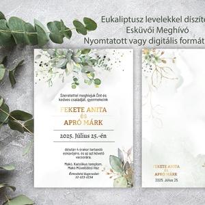 Eukaliptisz leveles Esküvői meghívó Online szerkeszthető szöveggel    , Esküvő, Meghívó, ültetőkártya, köszönőajándék, Eukaliptusz leveles Esküvői meghívó Magyar vagy angol szöveggel  (Saját tervezés)   Egylapos 2 oldal..., Meska