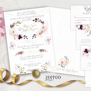 Eukaliptusz leveles, rózsás, pillangós Esküvői meghívó készlet., Esküvő, Meghívó, ültetőkártya, köszönőajándék, Eukaliptusz leveles, rózsás, pillangós Esküvői meghívó készlet. Magyar vagy angol szöveggel  (Saját ..., Meska