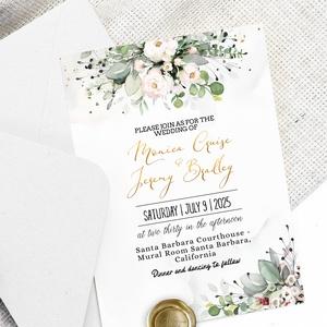Eukaliptisz leveles, tearózsás Esküvői meghívó Online szerkeszthető szöveggel , Esküvő, Meghívó, ültetőkártya, köszönőajándék, Papírművészet, Eukaliptusz leveles Esküvői meghívó Magyar vagy angol szöveggel - a képen angol szöveggel szerepel. ..., Meska