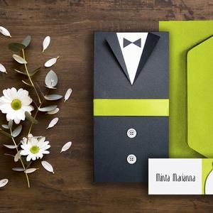 PRITY ESKÜVŐI SZETT (meghívó + ültetőkártya), Esküvő, Szerelmeseknek, Meghívó, ültetőkártya, köszönőajándék, Fotó, grafika, rajz, illusztráció, Papírművészet, ÖTLETES ESKÜVŐI MEGHÍVÓ ÉS ÜLTETŐKÁRTYA ÖLTÖNYÖS, MENYASSZONYI RUHÁS MEGOLDÁSSAL  Az esküvői meghív..., Meska