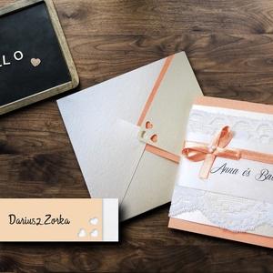 BELLE ESKÜVŐI SZETT (meghívó + doboz + ültetőkártya), Szerelmeseknek, Esküvő, Meghívó, ültetőkártya, köszönőajándék, Fotó, grafika, rajz, illusztráció, Papírművészet, ELEGÁNS ÉS SZOLID ESKÜVŐI MEGHÍVÓ, DOBOZ ÉS ÜLTETŐKÁRTYA CSIPKÉVEL, MASNIVAL ÉS GYÖNGYÖKKEL  Az esk..., Meska