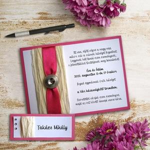 PLISZÉ ESKÜVŐI SZETT (meghívó + ültetőkártya), Esküvő, Szerelmeseknek, Meghívó, ültetőkártya, köszönőajándék, Fotó, grafika, rajz, illusztráció, Papírművészet, ESKÜVŐI MEGHÍVÓ ÉS ÜLTETŐKÁRTYA PLISZÉPAPÍRRAL, SZATÉNSZALAGGAL ÉS DEKORGOMBBAL  Az esküvői meghívó..., Meska