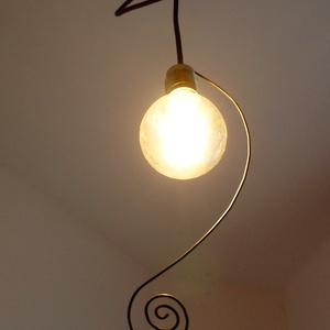 """Gyöngy Edison lámpabúra, Lakberendezés, Otthon & lakás, Lámpa, Hangulatlámpa, Fali-, mennyezeti lámpa, Mindenmás, Drótból és üveggyöngyből készült \""""lámpabúra\"""", lámpadísz Edison típusú villanykörtéhez ajánlott.  Han..., Meska"""