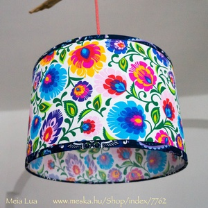 Doblámpa - virágos, Otthon & Lakás, Lámpa, Fali & Mennyezeti lámpa, Mindenmás, Egyedi, elegáns mennyezeti lámpabúra. Mérete: karika váz átmérője 30 cm, magassága kb. 20 cm. Más an..., Meska
