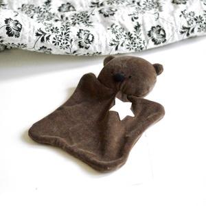 Rongyi - rongyikendő - szundi kendő - alvókendő - medve maci mackó - babajáték - babaszoba - szürke plüss (meilingerzita) - Meska.hu