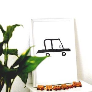 Illusztráció repró reprodukció nyomat print grafika festmény fekete fehér autó autós kocsi (meilingerzita) - Meska.hu