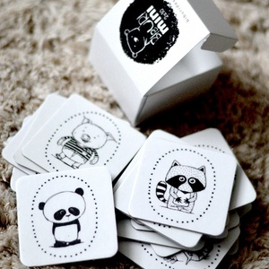 BIBURI kártya - dekoráció - memóriajáték - memóriakártya- állat panda mosómedve csikóhal hal nyúl róka (meilingerzita) - Meska.hu