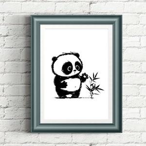 Panda illusztráció repró reprodukció nyomat print grafika festmény fekete fehér, Képzőművészet, Otthon & lakás, Gyerek & játék, Gyerekszoba, Fotó, grafika, rajz, illusztráció, Babaváró ajándékot keresel, épp a gyerekszobát alakítod ki/át vagy dekorációt keresel?\n\nKeretezhető ..., Meska