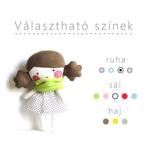 Baba választható színekkel - Textil baba Rongybaba Játék baba Játékbaba Rózsaszín Szürke Pöttyös, Játék, Gyerek & játék, Baba, babaház, Játékfigura, Varrás, Textil baba levehető szoknyával és sállal.\nKérlek, hogy a vásárlási folyamatban vagy a vásárlást köv..., Meska