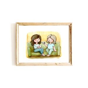 Eredeti, színes portré - két személy, A4, Otthon & lakás, Képzőművészet, Festmény, Fotó, grafika, rajz, illusztráció, EREDETI, keretezhető portré 2 személlyel, A4-es méretben - álló vagy fekvő helyzetben -, a képen sze..., Meska
