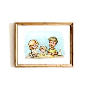 Eredeti, színes portré - 3 személy, A4, Otthon & lakás, Képzőművészet, Festmény, Fotó, grafika, rajz, illusztráció, EREDETI, keretezhető portré 3 személlyel, A4-es méretben - álló vagy fekvő helyzetben -, a képen sze..., Meska