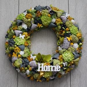 Ajtókoszorú, ajtókopogtató zöld, sárga, szürke színekben, Otthon & Lakás, Dekoráció, Ajtódísz & Kopogtató, Virágkötés, Mindenmás, Meska
