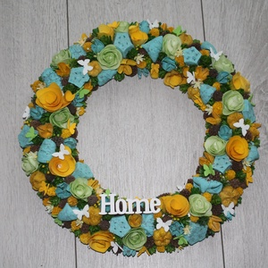 Kék, sárga, zöld vidám ajtókoszorú, Otthon & Lakás, Dekoráció, Ajtódísz & Kopogtató, Mindenmás, Virágkötés, Meska