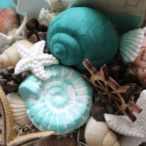 Nyári tengeri asztaldísz, kagylókkal - otthon & lakás - dekoráció - asztaldísz - Meska.hu