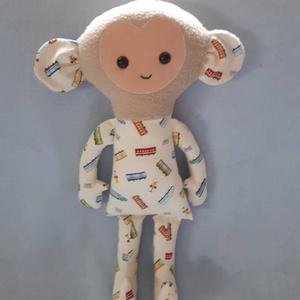 Majmóca vonatos ruhában 39cm-es, Gyerek & játék, Játék, Játékfigura, Varrás, Egy aranyos kisfiú ihlette,Majmóca pajtit aki imádja a vonatokat,igy elkészítettem neki vonatmintás ..., Meska