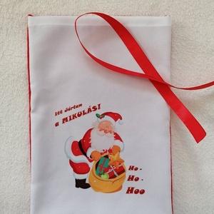 Egyedi Mikulászsák, Karácsony & Mikulás, Mikulás, Varrás, Egyedi mikulászsákot készitettem.\nMérete: 20×30 cm\nmegkötése,szalaggal melyet szintén mellékelek.\nAn..., Meska
