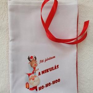 Mikulászsák, Karácsony & Mikulás, Mikulás, Varrás, Egyedi mikulászsákot készitettem,anyaga polár,panamaszövet.\nMérete: 20×30cm\nMosható,megkötése szalag..., Meska