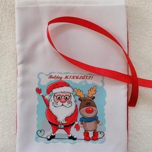 Mikulászsák, Karácsony & Mikulás, Mikulás, Varrás,  Egyedi mintázatú mikulászsákot készítettem.\nMérete: 20×30cm\nAnyaga: Polár,panamaszövet,mosható\nMegk..., Meska