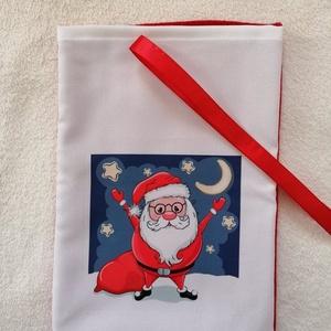 Mikulászsák, Karácsony & Mikulás, Mikulás, Varrás, Egyedi mikulászsákot készítettem.\nMérete: 20×30cm\nAnyaga: polár,panamaszövet,mosható\nMegkötése szala..., Meska