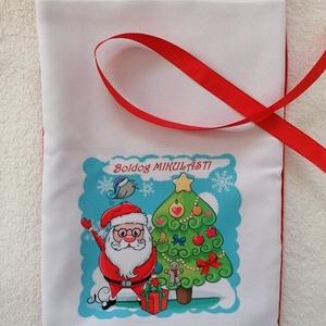 Egyedi Mikulászsák, Karácsony & Mikulás, Mikulás, Varrás, Egyedi mintázatú mikulászsákot készítettem.\nMérete: 20×30cm\nAnyaga: Polár,panamaszövet,mosható\nMegkö..., Meska