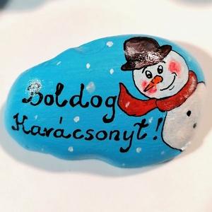 """,,Karácsonyi Üdvözlet!\"""" Kézzel Festett Kavics, Karácsonyi dekoráció, Karácsony & Mikulás, Otthon & Lakás, Festészet, Kézzel festett aranyos Hóember, felirattal!\nAkril festékkel festettem, fekete filctollal kontúroztam..., Meska"""