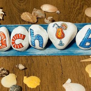 Beach Bar, Otthon & Lakás, Dekoráció, Kavics & Kő, Festett tárgyak, Innál egy koktélt? :) Tedd meg a saját bárodban, keverj egy mojitot!\nEzzel a kavics dekorral igazi b..., Meska