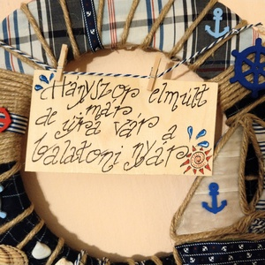 Balatoni nyár, Otthon & Lakás, Dekoráció, Falra akasztható dekor, Mindenmás, Vitorlás, halak, horgonyok....jöhet a balatoni nyár! :)\nFali vagy ajtódísz, mely a nyárra emlékeztet..., Meska