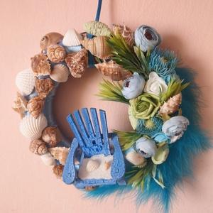 Blue relax, Otthon & Lakás, Dekoráció, Mindenmás, Egy szék a tengerparton :)\nAz alapot szaténszalaggal és mintás anyaggal vontam be. Kagylókkal/csigák..., Meska