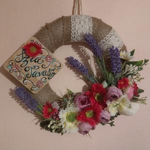 Szia Tavasz :), Otthon & Lakás, Dekoráció, Mindenmás, Vintage tavaszi hangulat :)\nAz alapot jutaszalaggal vontam be. Virágokkal, termésekkel díszítettem, ..., Meska