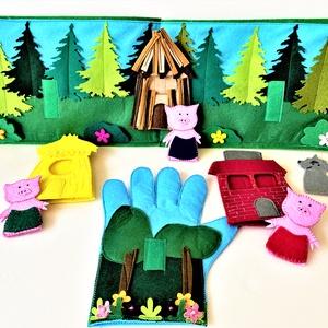 A három kismalac interaktív ujjbáb könyv , Játék & Gyerek, Bábok, Báb készlet, Varrás, \nSaját tervezésű interaktív ujjbáb könyv A három kismalac történethez, amely nem csak kitűnő szórako..., Meska