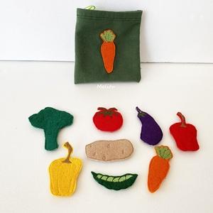 Zöldségek-Tépőzáras kiegészítő, Játék & Gyerek, Készségfejlesztő & Logikai játék, Varrás, A saját tervezésű tépőzáras figurákkal képeket alkothatunk, amelyek fejlesztik a gyerekek gondolkodá..., Meska