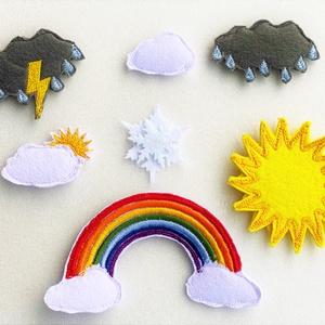 Időjárás - tépőzáras elemek, Játék & Gyerek, Készségfejlesztő & Logikai játék, Varrás, A saját tervezésű tépőzáras figurákkal képeket alkothatunk, amelyek fejlesztik a gyerekek gondolkodá..., Meska