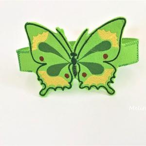 Zöld pillangó fejpánt, Maszk, Arcmaszk, Hímzés, Varrás, Saját tervezésű filcből készült fejpánt. \nHátul tépőzárral van ellátva így mérete állítható. \nAlkalm..., Meska