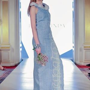 Nunonemez ruha(kék-fehér), Táska, Divat & Szépség, Női ruha, Ruha, divat, Estélyi ruha, Ruha, Nemezelés, Nunonemez hosszú alkalmi ruha selyem és ausztrál extra minőségű merinó nemezéből.\nA ruha a 2018-as t..., Meska