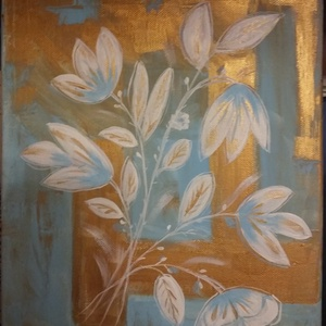 Absztrakt virág, Otthon & lakás, Dekoráció, Képzőművészet, Festmény, Akril, Festészet, 30x25 cm absztrakt kép. Akril festékkel festve, lakkozva. , Meska